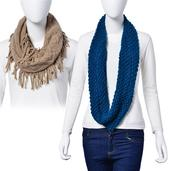J Francis - Set of 2 Teal and Khaki 100% Acrylic Infinity Scarves (34x14 In, 30x10 In)