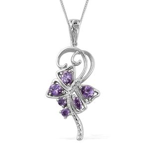 KARIS Collection - Simulated Purple Diamond Platinum Bond Brass Pendant With Stainless Steel Chain (20 in) TGW 2.23 cts.