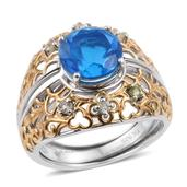 Caribbean Quartz, Yellow Apatite 14K YG and Platinum Over Sterling Silver Ring with Guards (Size 10.0) TGW 4.49 cts.