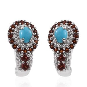 Arizona Sleeping Beauty Turquoise, Mozambique Garnet, White Topaz Platinum Over Sterling Silver J-Hoop Earrings TGW 2.06 cts.