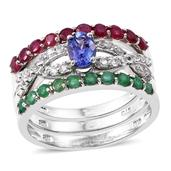 Tanzanite, Kagem Zambian Emerald, Niassa Ruby Platinum Over Sterling Silver Stackable Rings (Size 10.0) TGW 2.48 cts.