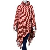 Red and Beige Stripes 100% Acrylic Collar Poncho with Fringe