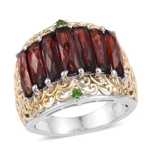 Mozambique Garnet, Russian Diopside 14K YG and Platinum Over Sterling Silver Ring (Size 7.0) TGW 8.930 cts.