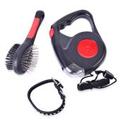 Set of 3 Retractable Pet Leash, Double Sided Pet Brush and Adjustable Pet Collar