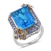 Caribbean Quartz, Tanzanite 14K YG and Platinum Over Sterling Silver Butterfly Statement Ring (Size 9.0) TGW 18.62 cts.
