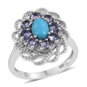 Arizona Sleeping Beauty Turquoise, Tanzanite, White Topaz Platinum Over Sterling Silver Ring (Size 7.0) TGW 1.690 cts.