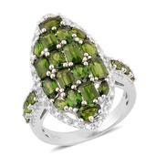 Russian Diopside, White Topaz Sterling Silver Elongated Cluster Ring (Size 6.0) TGW 5.25 cts.