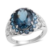 London Blue Topaz Sterling Silver Ring (Size 7.0) TGW 6.950 cts.