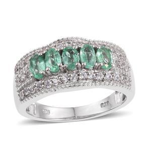 Boyaca Colombian Emerald, White Zircon Platinum Over Sterling Silver 5 Stone Ring (Size 7.0) TGW 1.640 cts.