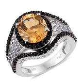 Brazilian Citrine, White Topaz, Thai Black Spinel Platinum Over Sterling Silver Ring (Size 10.0) TGW 6.950 cts.