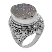Bali Legacy Collection Pearl Shimmer Drusy Quartz Sterling Silver Statement Ring (Size 8.0) TGW 13.35 cts.