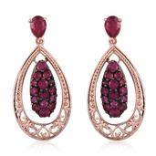 Niassa Ruby 14K RG Over Sterling Silver Dangle Earrings TGW 5.30 cts.