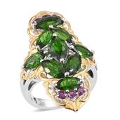 Russian Diopside, Orissa Rhodolite Garnet, White Topaz 14K YG and Platinum Over Sterling Silver Elongated Ring (Size 7.0) TGW 6.530 cts.
