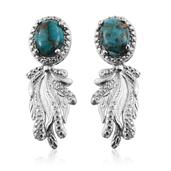 KARIS Collection - Mojave Blue Turquoise Platinum Bond Brass Dangle Earrings TGW 3.500 Cts.