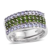 Russian Diopside, Tanzanite Platinum Over Sterling Silver Stackable Rings (Size 7.0) TGW 1.92 cts.