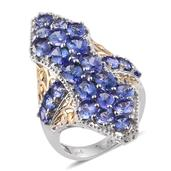 Tanzanite, White Zircon 14K YG and Platinum Over Sterling Silver Elongated Ring (Size 7.0) TGW 8.560 cts.