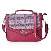 J Francis - Burgundy Faux Leather Crossbody Bag (10x4x8 in)