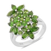 Russian Diopside Sterling Silver Floral Ring (Size 6.0) TGW 3.860 cts.