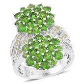 Russian Diopside, Hebei Peridot, White Topaz Sterling Silver Flower Ring (Size 7.0) TGW 4.210 cts.
