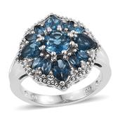 London Blue Topaz, White Topaz Platinum Over Sterling Silver Ring (Size 7.0) TGW 3.960 cts.