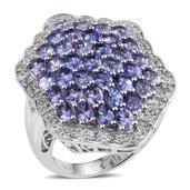 Tanzanite, White Topaz Platinum Over Sterling Silver Elongated Cluster Ring (Size 9.0) TGW 7.14 cts.