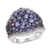 Tanzanite, White Topaz Platinum Over Sterling Silver Cluster Ring (Size 9.0) TGW 5.520 cts.