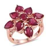 Niassa Ruby 14K RG Over Sterling Silver Floral Ring (Size 7.0) TGW 8.120 cts.