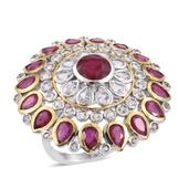 Niassa Ruby, White Topaz 14K YG and Platinum Over Sterling Silver Statement Ring (Size 8.0) TGW 9.940 cts.