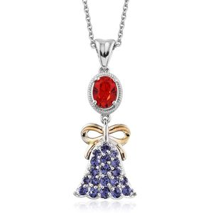 KARIS Collection - ION Plated 18K YG and Platinum Bond Brass Bell Pendant With Stainless Steel Chain (20 in) Made with SWAROVSKI Red and Purple Crystal TGW 1.78 cts.