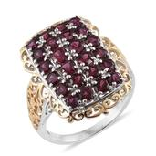 Orissa Rhodolite Garnet 14K YG and Platinum Over Sterling Silver Openwork Ring (Size 6.0) TGW 3.910 cts.