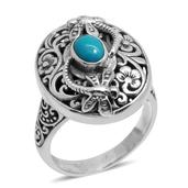 Bali Legacy Collection Arizona Sleeping Beauty Turquoise Sterling Silver Engraved Dragonfly Ring (Size 9.0) TGW 1.260 cts.