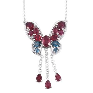 Niassa Ruby, London Blue Topaz, White Topaz Platinum Over Sterling Silver Dangling Butterfly Princess Necklace (18 in) TGW 9.242 Cts.