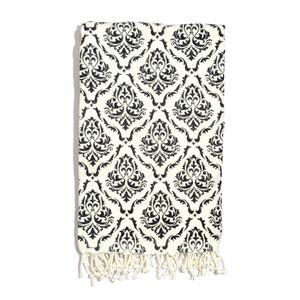 Black Damask Print 100% Cotton Brushed Throw with Fringes