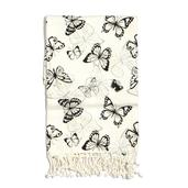 White and Black Butterfly Print 100% Cotton Brushed Throw with Fringes (60x48 in)