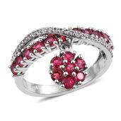 Mahenge Rose Spinel, White Topaz Platinum Over Sterling Silver Floral Drop Ring (Size 7.0) TGW 2.08 cts.