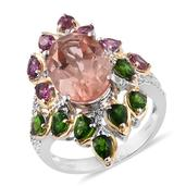 Morganique Quartz, Multi Gemstone 14K YG and Platinum Over Sterling Silver Ring (Size 7.0) TGW 10.590 cts.