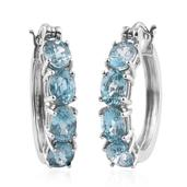 Cambodian Blue Zircon Platinum Over Sterling Silver Hoop Earrings TGW 12.50 cts.