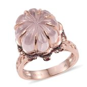 Galilea Rose Quartz, Orissa Rhodolite Garnet 14K RG Over Sterling Silver Ring (Size 6.0) TGW 19.41 cts.
