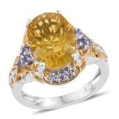 Canary Yellow Fluorite, Tanzanite 14K YG and Platinum Over Sterling Silver Ring (Size 7.0) TGW 7.160 cts.
