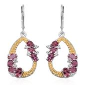 Pink Tourmaline, White Topaz 14K YG and Platinum Over Sterling Silver Lever Back Earrings TGW 3.220 Cts.