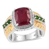 Niassa Ruby, Russian Diopside 14K YG and Platinum Over Sterling Silver Ring (Size 6.0) TGW 7.030 cts.