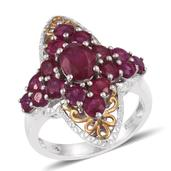 Niassa Ruby 14K YG and Platinum Over Sterling Silver Ring (Size 6.0) TGW 5.800 cts.