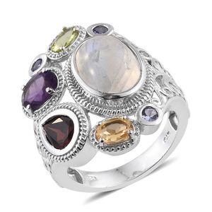 Sri Lankan Rainbow Moonstone, Multi Gemstone Platinum Over Sterling Silver Openwork Ring (Size 8.0) TGW 10.800 cts.