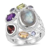 Malagasy Labradorite, Multi Gemstone Platinum Over Sterling Silver Openwork Statement Ring (Size 11.0) TGW 10.350 cts.