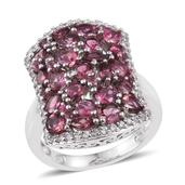 Morro Redondo Pink Tourmaline, White Zircon Platinum Over Sterling Silver Cluster Ring (Size 7.0) TGW 4.05 cts.