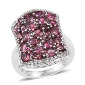 Pink Tourmaline, White Zircon Platinum Over Sterling Silver Cluster Ring (Size 9.0) TGW 4.050 cts.