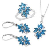 Malgache Neon Apatite Platinum Over Sterling Silver Lever Back Earrings, Ring (Size 9) and Pendant With Chain (20 in) TGW 4.480 Cts.