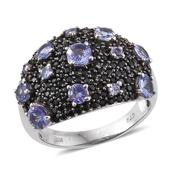 Tanzanite, Thai Black Spinel Platinum Over Sterling Silver Cluster Ring (Size 9.0) TGW 4.19 cts.