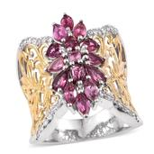 Morro Redondo Pink Tourmaline, White Zircon 14K YG and Platinum Over Sterling Silver Openwork Knuckle Ring (Size 9.0) TGW 2.55 cts.