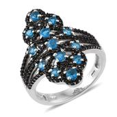 Malgache Neon Apatite, Thai Black Spinel Platinum Over Sterling Silver Ring (Size 10.0) TGW 2.12 cts.